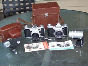 Praktina IIA w/50mm F2 Pancolar, FX w/Tessar, motor drive and accessories
