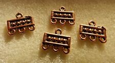 COPPER PLATED RECTANGLE END BARS 13X6 MM 3 LOOPS (4 PCS)
