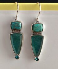 Silpada Large Sterling Silver, Turquoise. Quartzite. Crystal Drop Earrings