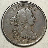 1804 Half Cent, Crosslet 4, With Stems, Very Fine, Craig 9, EDS, Scarce  0619-02