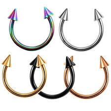 Titanium Spike Horseshoe Ring Curved Barbell Nose Eyebrow Lip Ear Piercings 16G