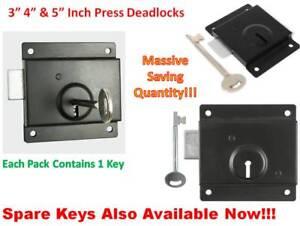 """3 sizes 3"""" 4"""" & 5"""" Press Dead Lock Gate, Cupboard, Door & Shed, Spare Key  Black"""