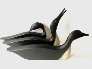 3 Carved Folk Art Signed Kautz Ducks Silhouette Shadow Merganser Wood Decoy USA