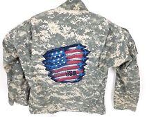 AMERICAN FLAG ARMY JACKET CUSTOM STITCHED COAT ZIPPER UNIFORM