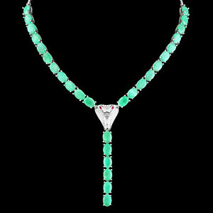 UNHEATED NATURAL 7X5MM COLUMBIAN EMERALD & CZ COBRA SILVER 925 NECKLACE 18-20 In