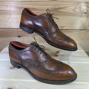 Vtg Footjoy Dress Shoes 9.5 D Brown Leather Lace-Up Brogues Wingtips Classic