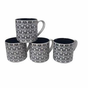 Set of 4 Graydon Hall Large Coffee Tea Mugs Cups Black and White Embossed Owls