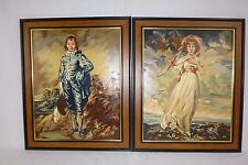 Vtg Paint By Number PBN Paintings Blue Boy & PInkie Art Award 1953 Framed 16x20