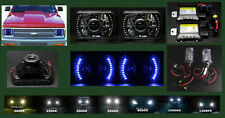 H6014 H6052 7x6 Blue LED Halo Black Chrome Projector Headlights w Bi-Xenon HID