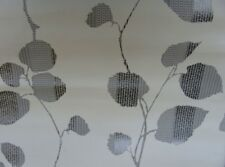 Quality Non Woven Wallpaper White with Grey Leaves Botanical design