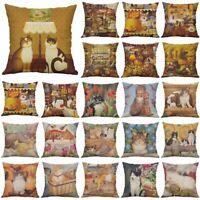 """18"""" Retor  Cat Cotton Linen Pillow Case Throw Cushion Cover Home Decor"""