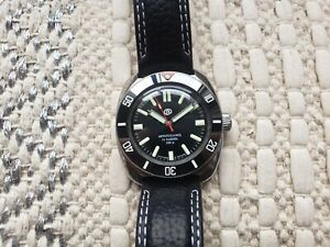 Vostok Amphibian Automatic Custom Watch New Lume Black Diver 200m Komandirskie