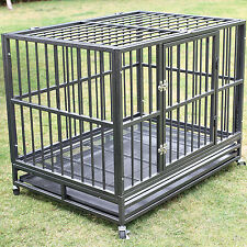 "42"" Dog Crate Kennel Heavy Duty Pet Cage Metal Playpen w/ Tray Pan Wheel Silver"