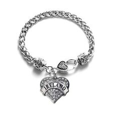 Inspired Silver Ireland Pave Heart Charm Bracelet