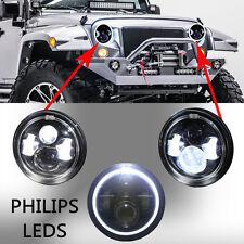 "2pcs 7"" Jeep Wrangler Led HeadLight Halo Angle Eyes for 97-2015 JK TJ LJ"