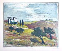 """Gerhard Messemer (geb. 1950) signierte Radierung """"A Casa"""", Toskana Italien, 1990"""