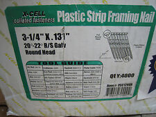 "1/2 Case X CELL Collated Plastic Strip Framing Nail 31/4"" x .131 Round Hd 2,000"