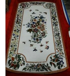 30 Inch Marble Coffee Table Top Floral Pattern Inlaid Sofa Table for Living Room