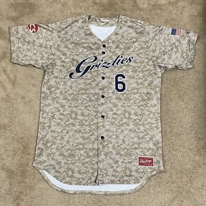 Game Worn Rawlings Gateway Grizzlies Frontier League Baseball Jersey Military 48