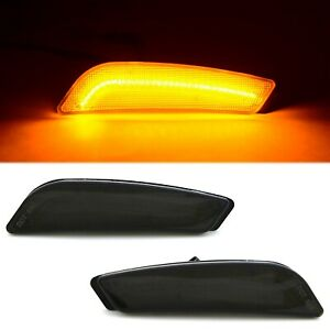 Smoked Front Bumper Amber LED Side Marker Light Lens Pair For 2003-2007 Cadillac