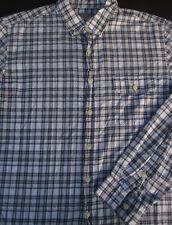 J Crew Mens Button Front Long Sleeve Cotton White Plaid Shirt Large L