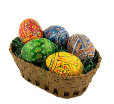 5 Hand Painted Wooden Ukrainian Pysanky Easter Eggs in Basket With Grass Gift