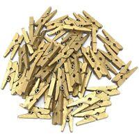 UK SELLER 25mm Mini Gold Wooden Clothes Peg Craft For Vintage Wedding