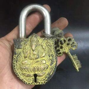 Vintage Bronze Lock Key Ancient Chinese Old Lock 2*Key Ganesha Can Be Use