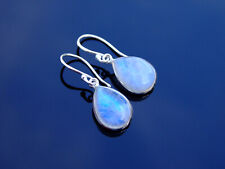Rainbow Moonstone Quartz Natural Gemstone 925 Sterling Silver Drop Earrings