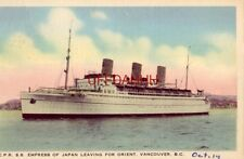 "1938 C.P.R. SS ""EMPRESS"" OF JAPAN LEAVING FOR ORIENT from VANCOUVER, BC CANADA"