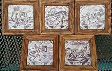 5xTile Lot 18th C. Antique Dutch Delft Manganese Bible Biblical Religious Tiles