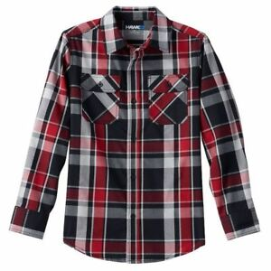 Boys Tony Hawk Poplin Plaid Button-Down Shirt Color: Med. Red Size: XL (18-20)