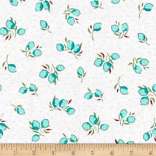Windham Fabrics Dover FLANNEL ~ Packed Floral Aqua Blue ~ Coral Flowers Bouquet
