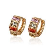 18k ct Gold Filled Elegant Multi color Huggie Earrings