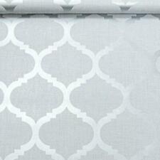 Light Grey Wallpaper Trellis Geometric Metallic Silver Feature Wall Linen2xrolls