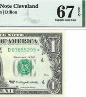 1963 $1 CLEVELAND * STAR * ⭐️ FRN, PMG SUPERB GEM UNCIRCULATED 67 EPQ BANKNOTE 1
