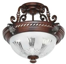 HAMPTON BAY Bercello Estates 15 in. 2-Light Volterra Bronze Semi-Flush Mount