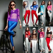 Fashion Womens Clubwear Pure Mesh Sheer Long Sleeve Sexy Shirt Tee Blouse Tops