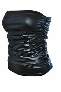 Womens Sleeveless Wet Look Boob tube Bandeau Strapless Ruched Vest Plus Size Top