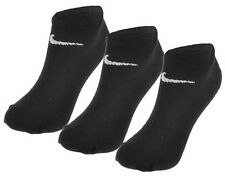 3 Pair Nike No Show Ankle Socks Black Mens Womens Performance Cotton UK 8-11