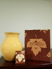 Longaberger Pottery 2001 Falling Leaves Butternut Glazed Vase In Original Box