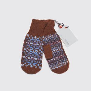 Jack Spade Sample Shetland Mitten Choco Brown Blue Wool