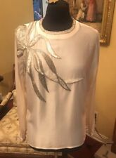 Della Roufogali 100% Silk Beaded Ivory White  Long Sleeve Shirt Blouse Size 10