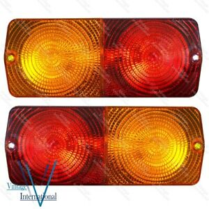For Massey Ferguson Ford David Brown Rear Stop Flasher Light Flat Base Pair @Vi