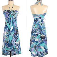 PATAGONIA Kamala Skirt converts to Tie Halter Dress Tropical Feather Print Sz. S