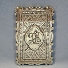 English Victorian Sterling Silver Card Case George Unite Birmingham Circa 1873