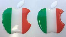 2x3D cúpula Italia Bandera/adhesivos con el logotipo de Apple para iPhone, iPad Cubierta. tamaño 35x30mm