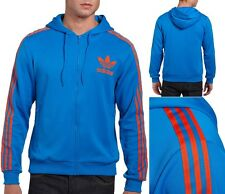 Adidas Originals Men's Trefoil Flock Hoody (F47402) Size M Blue/Red/Orange