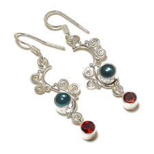 Swiss Blue Topaz,Faceted Garnet Gemstone silver plated Handmade Bezel Earrings