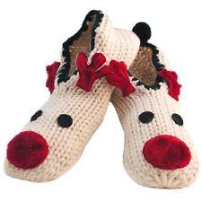 Ladies Knit Christmas Rudolph Reindeer Face Ballerina Slippers Non-Skid Pompom
